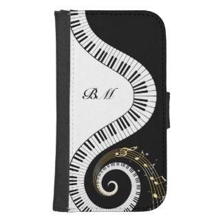 Llaves del piano del monograma y notas musicales funda billetera para teléfono