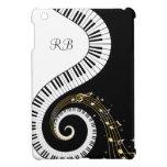 Llaves del piano del monograma y notas musicales iPad mini protector