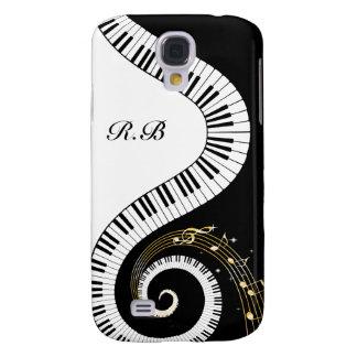Llaves del piano del monograma y notas musicales funda para galaxy s4