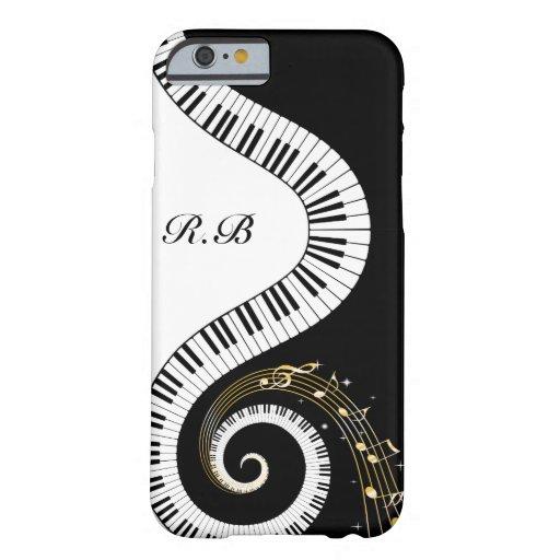 Llaves del piano del monograma y notas musicales funda para iPhone 6 barely there