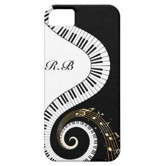 Llaves del piano del monograma y notas musicales funda para iPhone SE/5/5s
