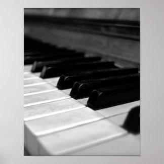 Llaves del piano del vintage; Blanco y negro Póster