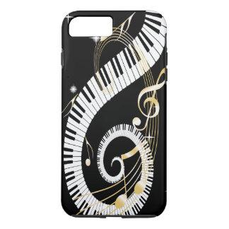 Llaves del piano y caja de oro del iPhone 7 de las Funda iPhone 7 Plus