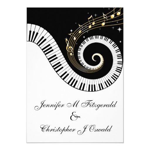 """Llaves del piano y el casarse de oro de las notas invitación 5"""" x 7"""""""