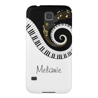 Llaves del piano y notas de la música del oro carcasa de galaxy s5