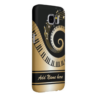 Llaves del piano y notas de la música del oro fundas samsung galaxy s6