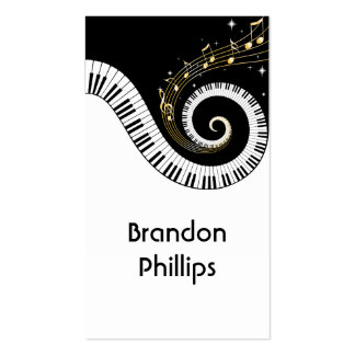 Llaves del piano y notas de la música del oro tarjetas de visita