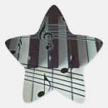 Llaves del piano y notas de la música pegatina forma de estrella personalizada