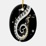 Llaves del piano y notas de oro de la música