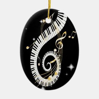 Llaves del piano y notas de oro de la música adorno navideño ovalado de cerámica