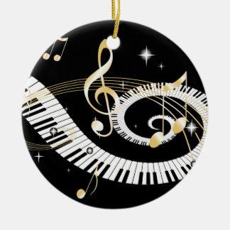 Llaves del piano y notas de oro de la música adorno navideño redondo de cerámica