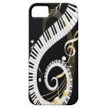 Llaves del piano y notas de oro de la música iPhone 5 Case-Mate fundas