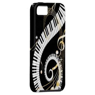 Llaves del piano y notas de oro de la música iPhone 5 fundas