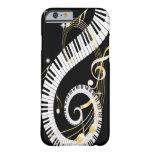 Llaves del piano y notas de oro de la música funda de iPhone 6 barely there
