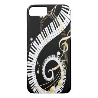 Llaves del piano y notas de oro de la música funda iPhone 7