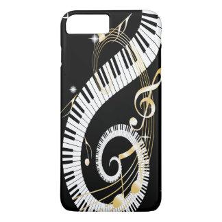 Llaves del piano y notas de oro de la música funda iPhone 7 plus