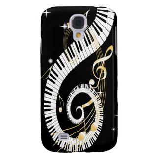 Llaves del piano y notas de oro de la música funda para galaxy s4