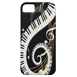 Llaves del piano y notas de oro de la música funda para iPhone SE/5/5s