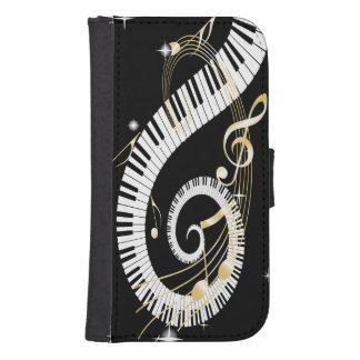 Llaves del piano y notas de oro de la música fundas billetera para teléfono