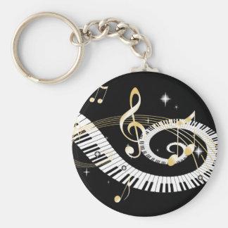 Llaves del piano y notas de oro de la música llavero personalizado