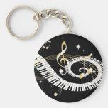 Llaves del piano y notas de oro de la música llavero redondo tipo pin