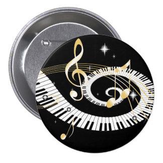 Llaves del piano y notas de oro de la música pin redondo de 3 pulgadas