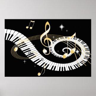 Llaves del piano y notas de oro de la música póster