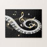 Llaves del piano y notas de oro de la música puzzles con fotos