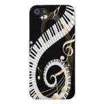 Llaves del piano y notas de oro de la música que r iPhone 5 carcasa