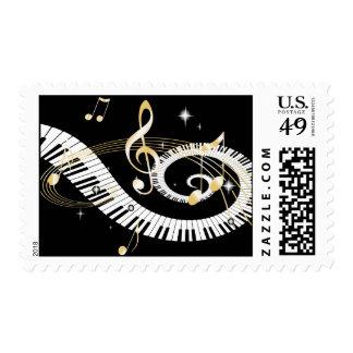 Llaves del piano y notas de oro de la música sello