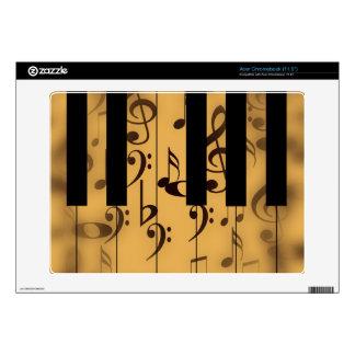 Llaves del piano y notas musicales calcomanía para acer chromebook