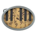 Llaves del piano y notas musicales hebilla cinturon oval