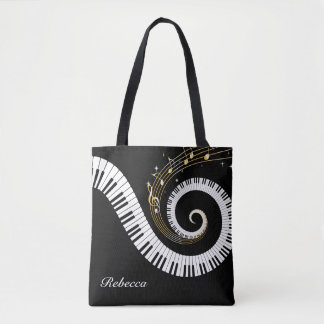 Llaves del piano y notas personalizadas de la bolsa de tela