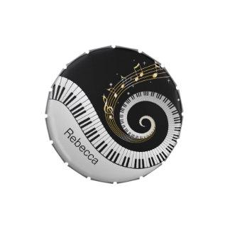 Llaves del piano y notas personalizadas de la jarrones de dulces