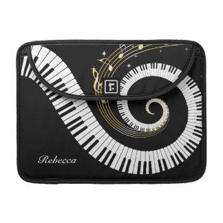 Llaves del piano y notas personalizadas de la músi fundas para macbook pro