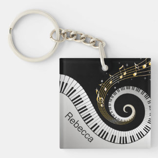 Llaves del piano y notas personalizadas de la músi llaveros