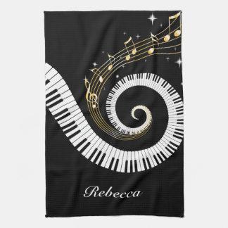 Llaves del piano y notas personalizadas de la toalla de cocina