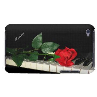 Llaves del piano y rosa rojo barely there iPod carcasas