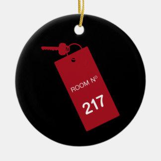 Llaves del sitio 217 adorno navideño redondo de cerámica