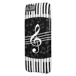 Llaves elegantes del clef y del piano de la nota funda de iPhone 6 barely there