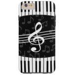 Llaves elegantes del clef y del piano de la nota funda de iPhone 6 plus tough