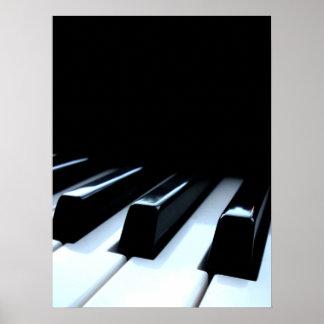 Llaves negras y blancas del piano poster
