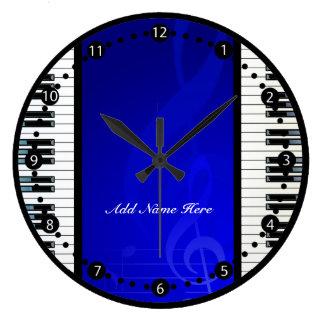 Llaves personalizadas del piano con las notas reloj redondo grande