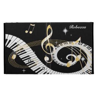 Llaves personalizadas del piano y notas de oro de