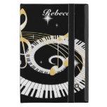 Llaves personalizadas del piano y notas de oro de iPad mini cárcasa