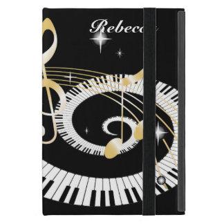 Llaves personalizadas del piano y notas de oro de iPad mini fundas