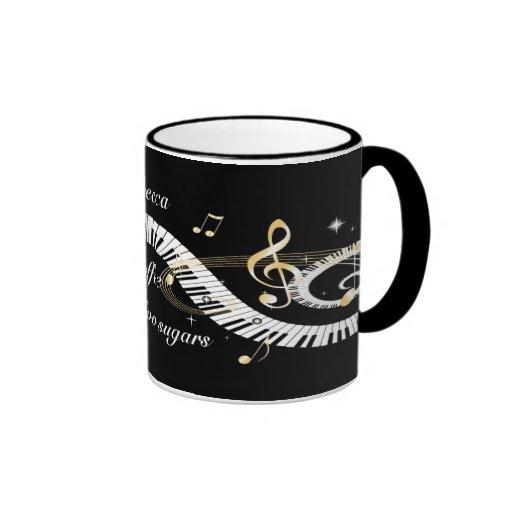 Llaves personalizadas del piano y notas de oro de  tazas de café