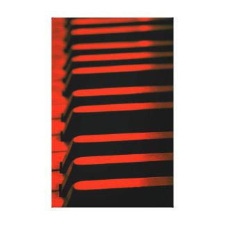 Llaves rojas del piano impresión en lona estirada