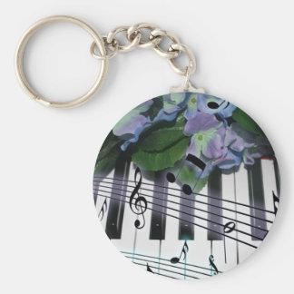 Llaves y flores del piano llavero redondo tipo pin