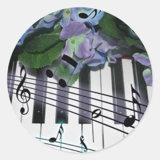Llaves y flores del piano pegatina redonda